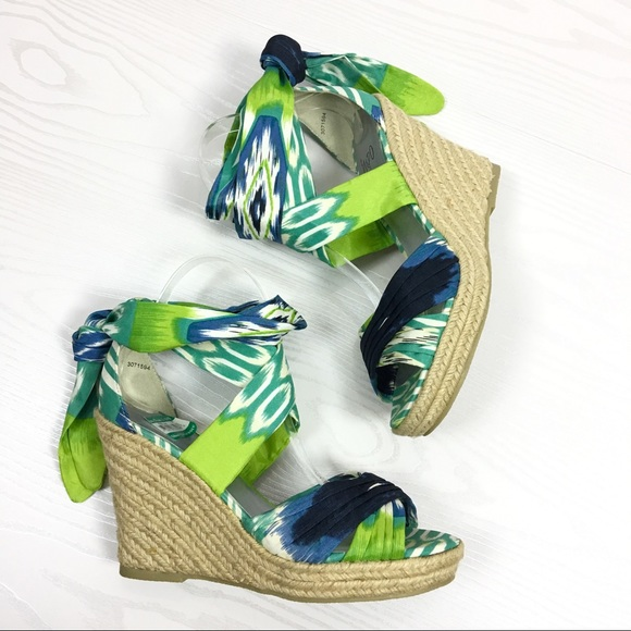 8a78f4791976 Impo Shoes - Tipper Blue Wedge Espadrilles Lace Up Ankle Wrap